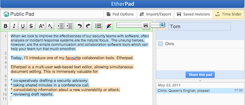 Etherpad screenshot